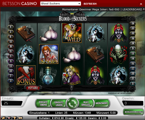 blood suckers online slot im betsson casino