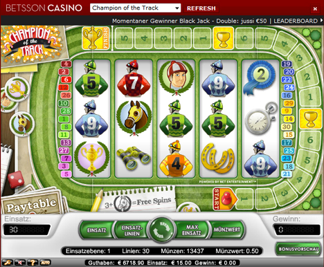champion of the track casinospiel im betsson casino